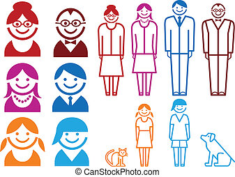 family icon set, vector pictogram