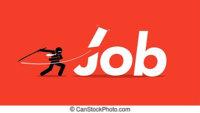 Job cut - Vector artwork depicts retrenchment, reducing...