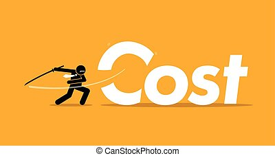 Cut Cost - Vector artwork depicts inflation, reducing...