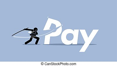 Pay Cut - Vector artwork depicts salary cut, bonus...