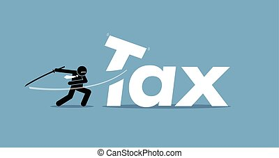 Tax Cut - Vector artwork depicts reducing and lowering...