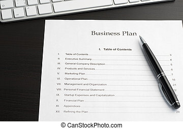 Business plan and pen close-up