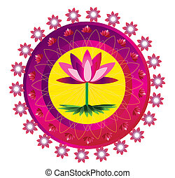 Lotus flower pattern mandala - Mandala round circle design