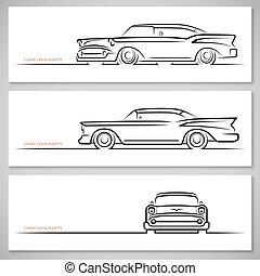 Set of vintage classic car silhouettes, outlines, contours....