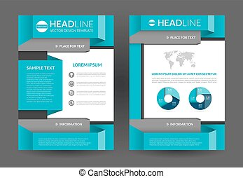 Flyer brochure layout template. A4 size - Blue brochure...