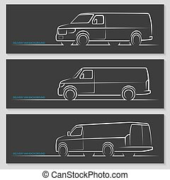 Set of vector delivery van or commercial vehicle silhouettes...