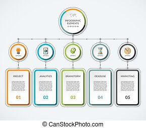 Infographic template with 5 option circles and columns....
