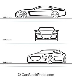 Vector car silhouettes set. Front, three-quarter and side...