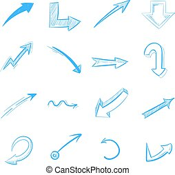 Pen drawing arrows vector set isolated on white. Curve arrow...