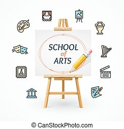 Art School Concept with Easel. Vector
