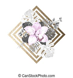 light blooming orchid and palm leaves on the abstract geometric gold texture background
