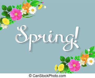 White lettering spring like ribbon. Background decorated by...