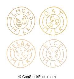 Almond,oat, sesame, rice milk badges. Vector EPS10 hand...
