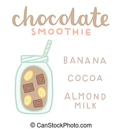 Chocolate smoothie recipe card.