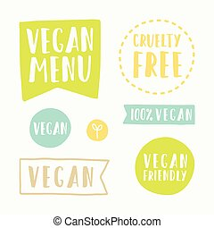 Vegan menu, cruelty free. Set of hand drawn vector badges