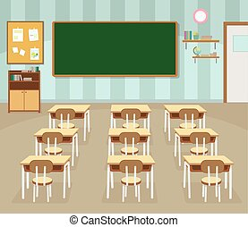 Empty school classroom with green chalkboard