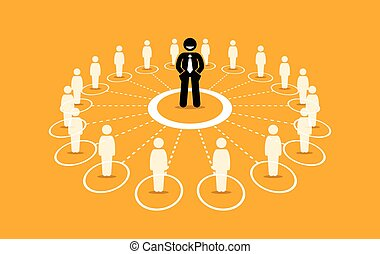 Business network and communication. - Vector artwork depicts...