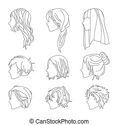 Collection Hairstyle Side View for Man and Woman Hair...