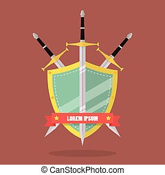 Three swords and shield flat style badge icon