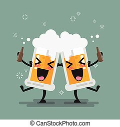 Two drunk beer glasses character. Vector illustration