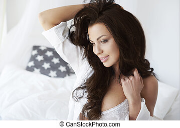 Beautiful woman just after waking up