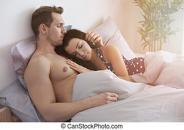 Feeling comfortable next to beloved person