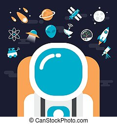 astronomy with icons - set of astronomy and flat icon