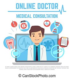 Online doctor, internet computer health service, medical consultation vector concept