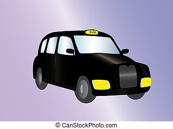 black cab on light background