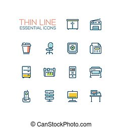 Office Supplies - Thin Single Line Icons Set - Office...