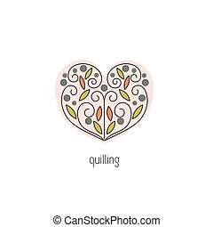 Quilling line icon - Quilling vector thin line icon. Heart,...