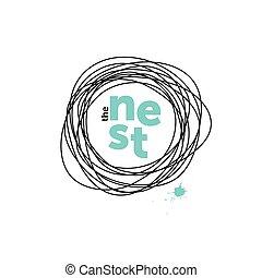 The nest creative logo. Doodling. Robin eggs - The nest...