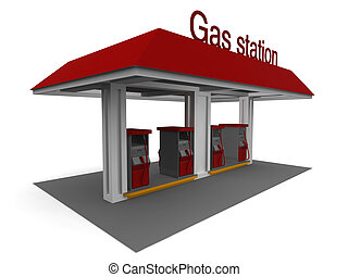 Gas Station - Isolated 3D representation of a Gas Station...