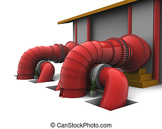 Hydroelectric Plant - 3D representation of a Hydroelectric...