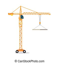 Industrial Yellow Crane Lifting Heavy Glass Elemet -...