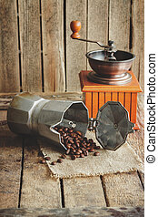 ?offee grinder, coffeepot and roasted coffee beans - Coffee...