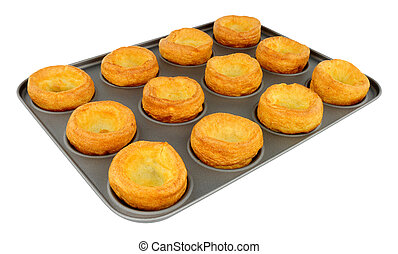 Yorkshire Puddings In A Non Stick Baking Tray - Twelve...