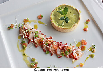 Lobster and green pea tart - Closeup lobster and green pea...