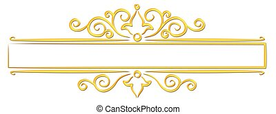 Gold frame with pattern.