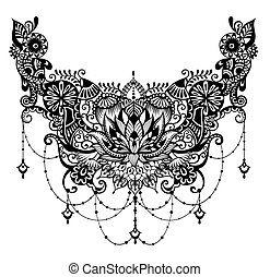gk44.eps - Lotus tattoo. Template for tattoo design with...