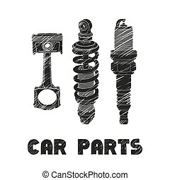 car parts illustration - Hand drawn car parts on white...