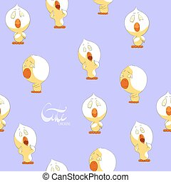 Cute yellow chickens seamless background