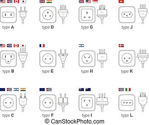 Electric outlet illustration. Different type power socket set, vector isolated icon illustration for different country plugs.