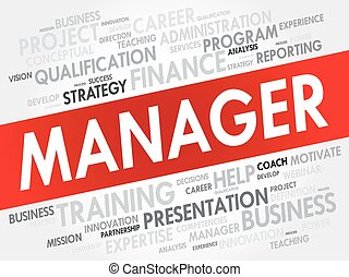 Manager word cloud, business concept