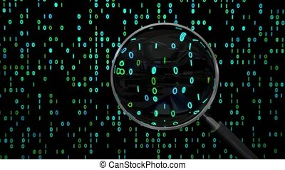 Data under magnifying glass binary spying spyglass