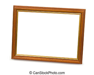 Staying wooden frame, isolated on white background