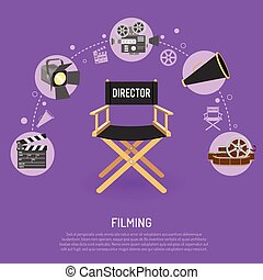 Cinema and filming concept with flat icons film reel,...