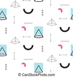 Retro triangles in 90s style seamless vector pattern....