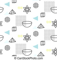 Retro 90s seamless vector pattern. Abstract shapes, color...