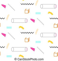 Lines and cylinders 90s seamless vector pattern. Abstract...